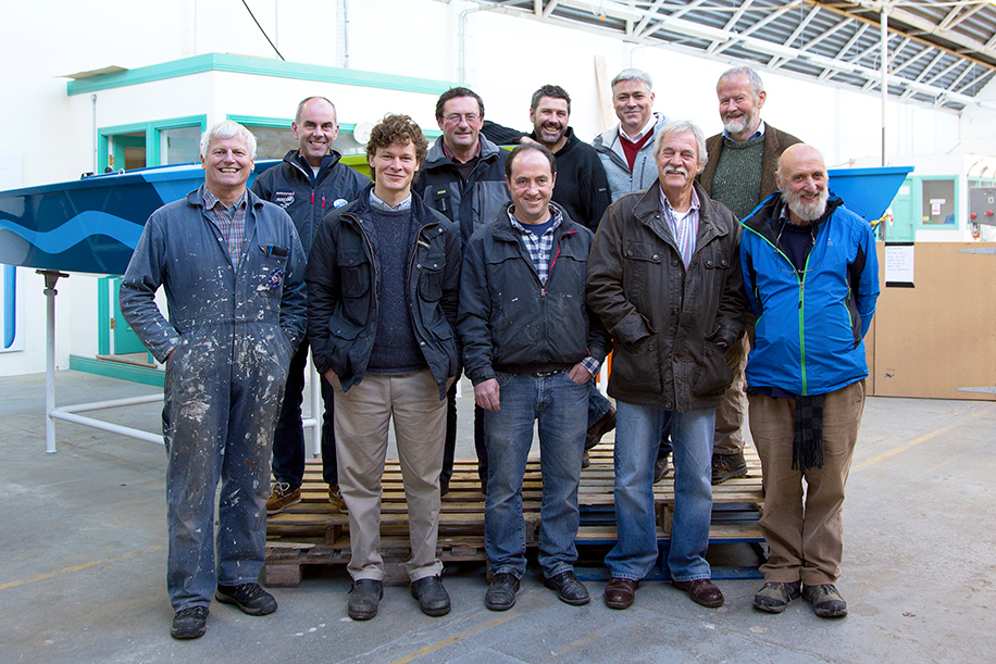 Front Row: Patrick Beautement, Wooden Boatbuilder UK; Matt Dirr, Wooden Boatbuilder US; James Madigan, Wooden Boatbuilder; Colin Frake, Traditional Ship Fittings UK; Dermot Kennedy, Traditional Ship Sailor.  Back Row: Eoghan O'Mahony, Traditional Sailmaker; Liam Hegarty, Wooden Boat Specialists; Trevor Ross, Traditional Ships Rigger NZ; Gary MacMahon, Director Ilen School; Br Anthony Keane OSB, Ilen School Director.