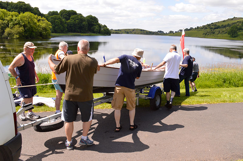 Unloading the Gandelow racing fleet at Lough Gur