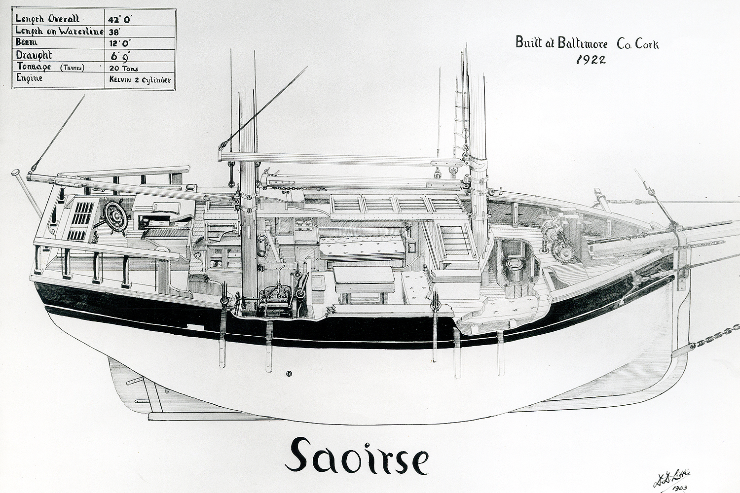 drawing of yacht Saoirse by Conor O'Brien Ireland