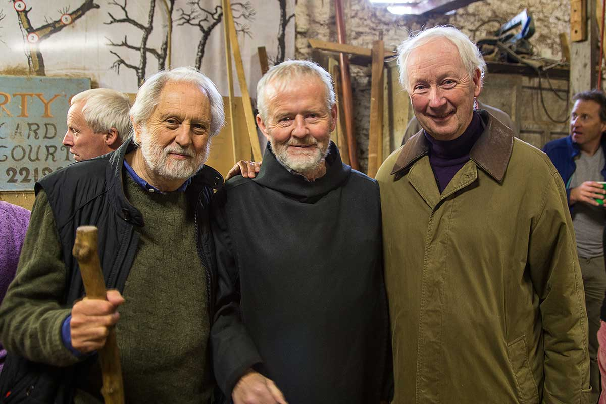 Lord David Puttnam, Brocther Anthony Keane of Glenstal Abbet and Dr Ed Walsh, founding president University of Limerick at the decking out ceremony of A.K. Ilen, October 2016