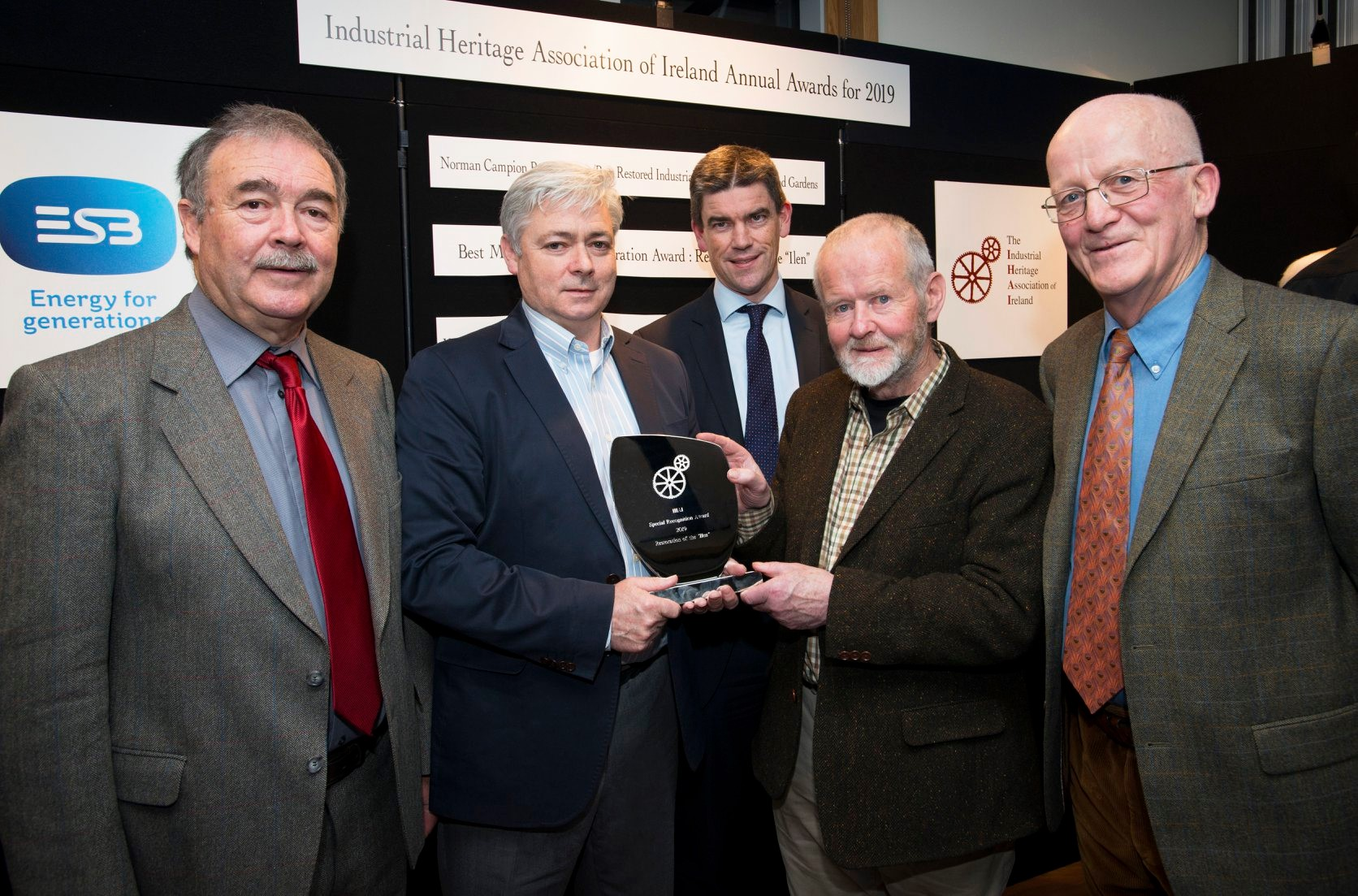 (L to R) IHAI President Paul McMahon, Gary Mac Mahon and Br Anthony Keane Ilen Project, ESB Director Nicholas Tarrant and Michael English IHAI Board Member.